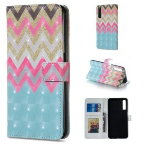 Color Wave Pattern Horizontal Flip Leather Case for Galaxy A7 (2018), with Holder & Card Slots & Photo Frame & Wallet