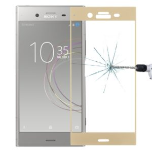 For Sony Xperia XZ1 0.26mm 9H Surface Hardness 3D Full Screen Tempered Glass Screen Protector(Gold)
