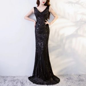 2 PCS Mermaid Evening Gown Party Occasion Formal Long Prom Dresses, Size:S(Black)
