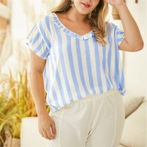 Lace V-neck Striped Short Shirt Feifei Sleeve Loose Women T-shirt (Color:Blue Size:XXL)