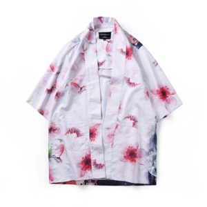 Digital Print Kimono Loose Seven-point Sleeve Shirt for Men and Women(Color:11002# Size:L)