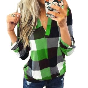 Casual V-neck Long-sleeved Printing Shirt (Color:Green Size:S)