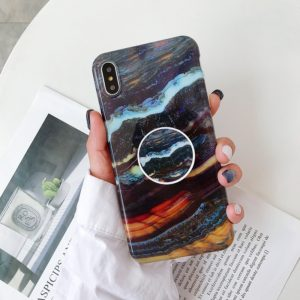Glossy Marble Folding Bracket Anti-drop TPU Case for iPhone X / XS(Z27)