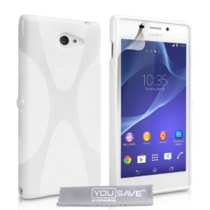 YouSave Accessories Θήκη σιλικόνης για Sony Xperia M2 λευκή by YouSave και screen protector