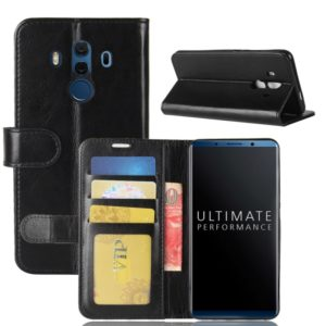 For Huawei Mate 10 Porsche Design & Mate 10 Pro Crazy Horse Texture Horizontal Flip Leather Case with Holder & Card Slots & Wallet(Black)