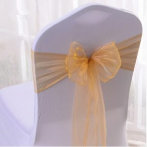 2 PCS Sheer Ribbon Organza Wedding Chair Decorations Sashes Belt Knot Chair Bow Bands Ties Chairs Wedding Banquet Supplies(Golden)