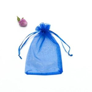100 PCS Gift Bags Jewelry Organza Bag Wedding Birthday Party Drawable Pouches, Gift Bag Size:13X18cm(Sapphire Blue)