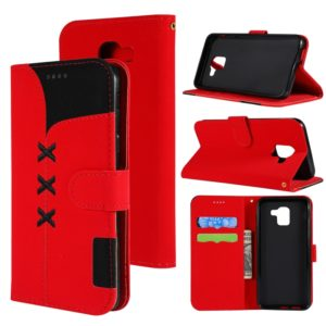 Fabric Stitching Embroidery Horizontal Flip Leather Case With Holder & Card Slots & Wallet for Galaxy J6(Red)
