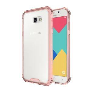 For Galaxy A7 (2017) / A720 Shockproof Acrylic + TPU Transparent Armor Protective Case(Magenta)
