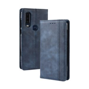Magnetic Buckle Retro Crazy Horse Texture Horizontal Flip Leather Case for Motorola One Action, with Holder & Card Slots & Photo Frame(Blue)