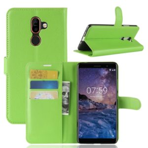 For Nokia 7 Plus PU + TPU Litchi Texture Horizontal Flip Leather Case with Wallet & Holder & Card Slots (Green)