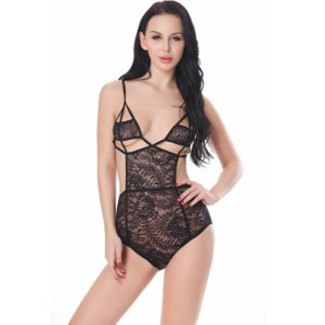 Women Sexy Hot Enticement Lace Dress Splicing Type Transparent Conjoined Underwear(Black) (FunAdd)