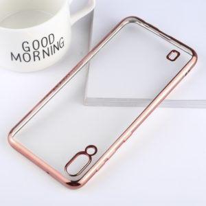 Ultra-thin Electroplating Soft TPU Protective Back Cover Case for Galaxy M10 (Rose Gold)