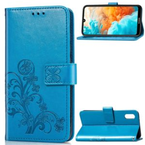 Lucky Clover Pressed Flowers Pattern Leather Case for Huawei Y6 Pro 2019, with Holder & Card Slots & Wallet & Hand Strap (Blue)