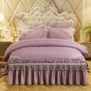 Luxury Thick Cotton Bed Skirt with Lace Edge Non-slip Bedding Set, Size:1.8x2.0m(4-Piece)(Violet)