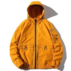 Hooded Loose Casual Jacket Print Tooling Jacket for Men (Color:Yellow Size:XXL)