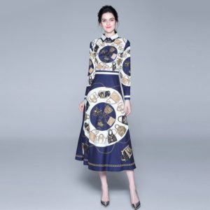 Printed Long Sleeve Big Swing Dress (Color:As Show Size:L)