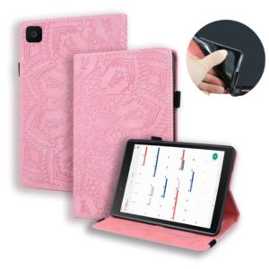 For Galaxy Tab A 8.0 (2019) Calf Pattern Double Folding Design Embossed Leather Case with Holder & Card Slots & Pen Slot & Elastic Band(Pink)