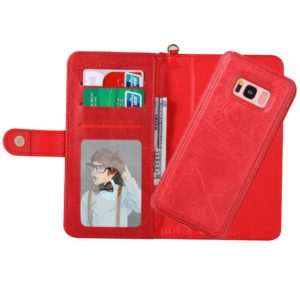 For Galaxy S8 + / G955 PU Detachable Horizontal Flip Protective Leather Case with Card Slots & Wallet & Photo Frame (Red)
