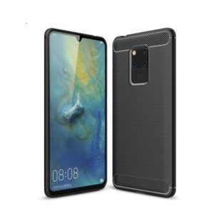 Brushed Texture Carbon Fiber Soft TPU Case for Huawei Mate 20 X(Black)