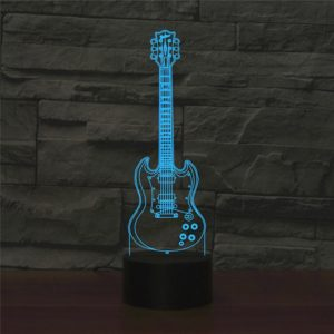 Five-string Guitar Shape 3D Colorful LED Vision Light Table Lamp, Crack Remote Control Version