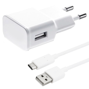 Network charger, No brand, 5V/1A, 220A, 1 x USB, with Type-C cable, White - 14963