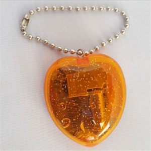 YKL-23 Mini Acrylic Heart-Shaped Music Box Key Chain(Orange)