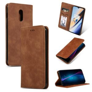 Retro Skin Feel Business Magnetic Horizontal Flip Leather Case for OnePlus 6T(Brown)