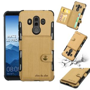 For Huawei Mate 10 Pro Brushed Texture Shockproof PU + TPU Case, with Card Slots & Wallet & Photo Frame(Gold)