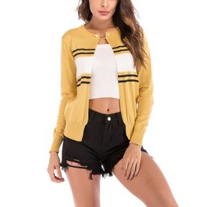 Fashion Cardigan Solid Color Knit Sweater (Color:Yellow Size:M)