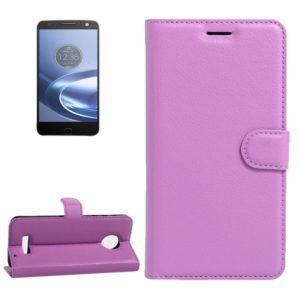 For Motorola Moto Z Force Litchi Texture Horizontal Flip Leather Case with Magnetic Buckle & Holder & Card Slots & Wallet(Purple)