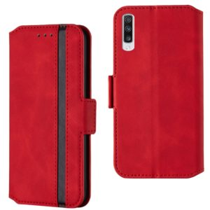 For Galaxy A90 5G Retro Frosted Oil Side Horizontal Flip Case with Holder & Card Slots(Red)