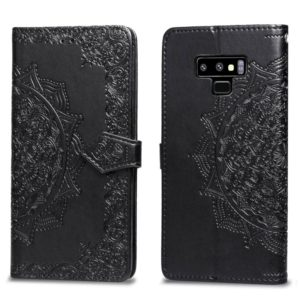 For Galaxy Note9 Halfway Mandala Embossing Pattern Horizontal Flip Leather Case with Holder & Card Slots & Wallet & Lanyard(Black)