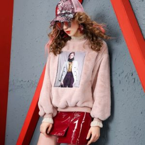 Rabbit Hair Nail Beads Loose Thin Thick Sweatshirt (Color:Pink Size:L)