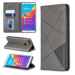Rhombus Texture Horizontal Flip Magnetic Leather Case with Holder & Card Slots For Huawei Honor 7C / Y7 (2018)(Grey)