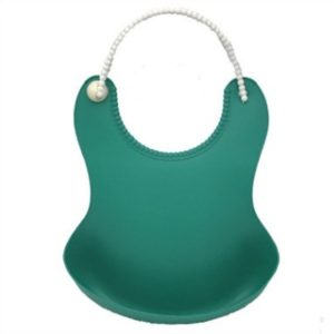 Baby Infant Toddler Waterproof Silicone Bib Infants Feeding Lunch Roll-up Apron(Dark Green)