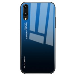 For Huawei P20 Gradient Color Glass Case(Blue)