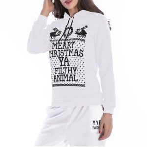 Hooded Long Sleeve Casual Loose Sweatshirt (Color:White Size:XL)