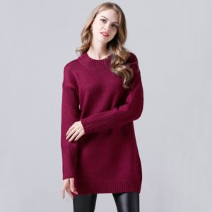Women Round Neck Long Sleeve Sweatshirt(Color:Red Size:One Size)