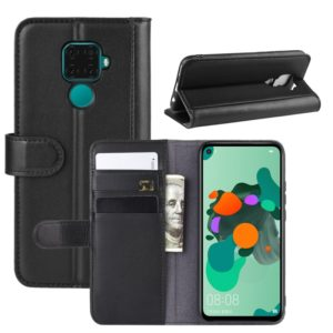 Horizontal Flip Genuine Leather Case for Huawei Mate 30 Lite / Nova 5i Pro, with Card Slots & Holder & Wallet(black)