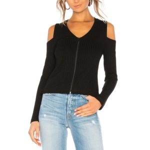 Off-shoulder Zip Split Long Sleeve T-shirt (Color:Black Size:S)