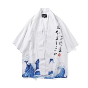 Digital Print Kimono Loose Seven-point Sleeve Shirt for Men and Women(Color:12001# Size:M)