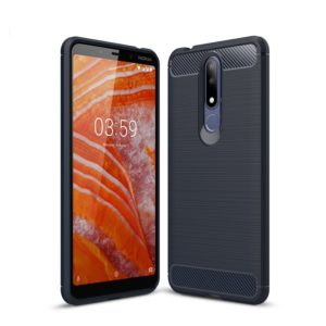 Carbon Fiber Texture TPU Shockproof Case For Nokia 3.1Plus / X3 (Navy Blue)