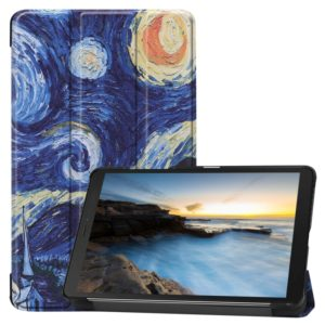 Cowhide Texture Pattern Colored Drawing Horizontal Flip Leather Case for Galaxy Tab A 8.0 2019, with Holder(Starry Sky)