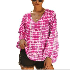 Casual Striped Long-sleeved Printing Long Sleeves (Color:Rose Red Size:L)