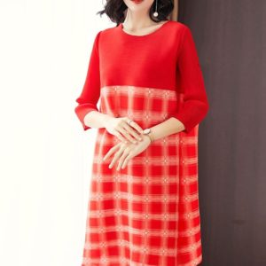 A Word Loose Fashion Print Dress Straight (Color:Red Size:One Size)