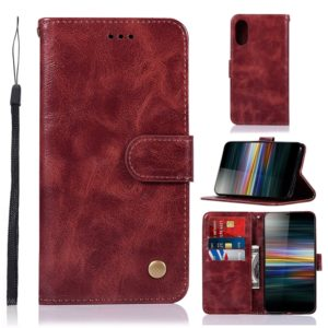 For Sony Xperia L3 Retro Copper Button Crazy Horse Horizontal Flip PU Leather Case with Holder & Card Slots & Wallet & Lanyard(Wine Red)