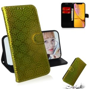 For iPhone XR Solid Color Colorful Magnetic Buckle Horizontal Flip PU Leather Case with Holder & Card Slots & Wallet & Lanyard(Gold)
