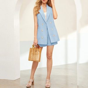 Double-breasted Sleeveless Piece Shorts Suit Jacket Worn With A Belt (Color:Blue Size:XL)