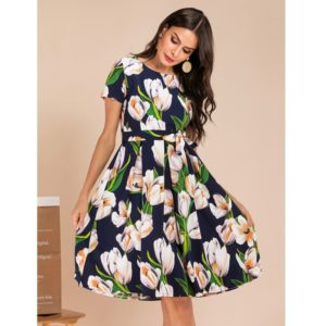 Elegent Fashion Style Women Printing Dress (Color:As Show Size:L)